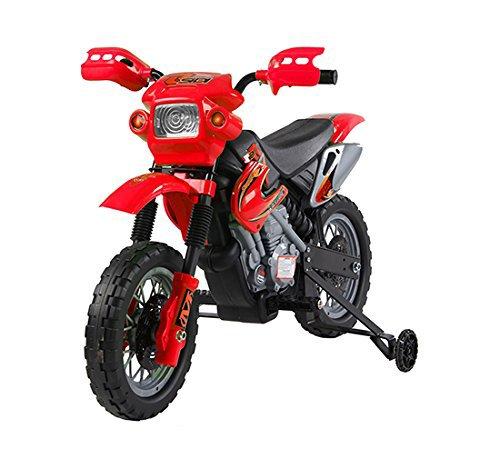 Homcom – moto cross elettrica per bambini con rotelle con certificato ce, en71-1-2-3, emc, en62115, rosso