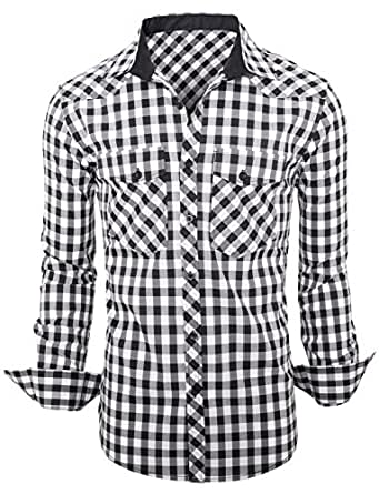 Stylish Check Mens Casual Slim fit Dress Shirts Fine Black Check Small
