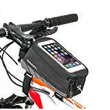 """[Upgraded Version] ieGeek Roswheel Bike Frame Tube Bag, Water Resistant Bicycle Bag Front Top Tube Pannier Head Tube Bag Touchscreen Case Phone Storage Bag with Audio Extension Line for 5.7"""" Cellphone, iPod, MP3, GPS Holder (Single Bag - Up to 5.7"""")"""