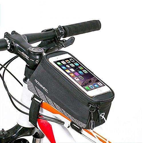 ieGeek Roswheel struttura della bici del sacchetto del tubo, resistente all'acqua sacchetto della bicicletta anteriore superiore del tubo Pannier touchscreen del sacchetto di caso di immagazzinaggio del telefono con la linea Audio Extension per iPhone, iPod, Samsung, supporto GPS (fino a 5,7