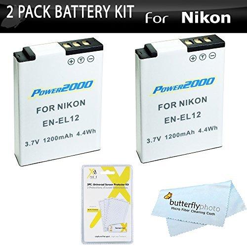2 Pack Battery Kit For Nikon COOLPIX S9900 S9700 AW130 P300 P310 S9300 S6300 A900 Digital Camera Includes 2 Extended Replacement (1100Mah) EN-EL12 Batteries + LCD Screen Protectors + More  available at amazon for Rs.2793