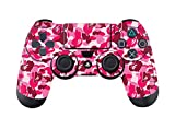 Camouflage Decal Full Body Skin Sticker For Sony Playstation 4 PS4 controllers x 2 (Pink)