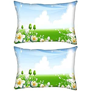 Pack of 2 White Flower Garden Rectangle Toss Throw Pillow Cushion Cover Decoarative Pillow Cover 20 x 30""