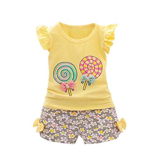 Babykleidung Kinder Kleinkind Mädchen Sommer Baby Bekleidungssets T-shirt Kleidung Top + Hosen Set Outfits Kleidung Set Stirnband Trainingsanzug Kleidung (12Monat-3T) LMMVP (Gelb, 110 (3-4T))
