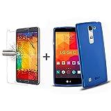 TBOC® Pack: Funda de Gel TPU Azul + Protector Pantalla Vidrio Templado para LG G4c H525n (LG G4 Mini). Funda de Silicona Ultrafina y Flexible. Protector de pantalla Resistente a Golpes, Caídas y Arañazos.
