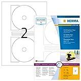 Herma 4460 CD-Etiketten Maxi, blickdicht (Ø116 mm, Innenloch klein, auf DIN A4 Papier, matt) 200 Stück auf 100 Blatt, weiß, mit Zentrierhilfe, selbstklebend, PC-bedruckbar
