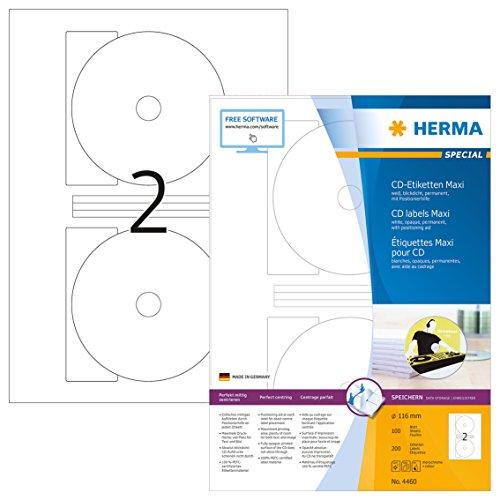 Herma 4460 CD DVD Etiketten blickdicht (Ø 116 mm, Innenloch klein) weiß, 200 Aufkleber, 100 Blatt DIN A4 Papier matt, Zentrierhilfe, bedruckbar, selbstklebend