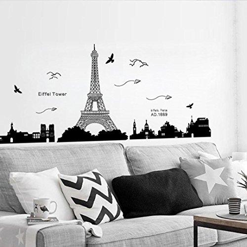sunnymi 60*90cm Wandtattoo Eiffelturm Paris Wandaufkleber Wandsticker Abnehmbar Für Schlafzimmer Kinderzimmer (Eiffelturm Paris, Schwarz)