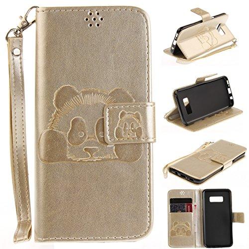 Für Samsung Galaxy S8 Plus Ganzkörper Schutzhülle, Prägung Textur Magnetic Flip Stand PU / TPU Leder Brieftasche Case mit Lanyard & Halter & Card Slots ( Color : Gold ) Gold