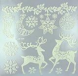 MegaCrea DIY Sticker vitrostatique Blanc pailleté Renne de Noël