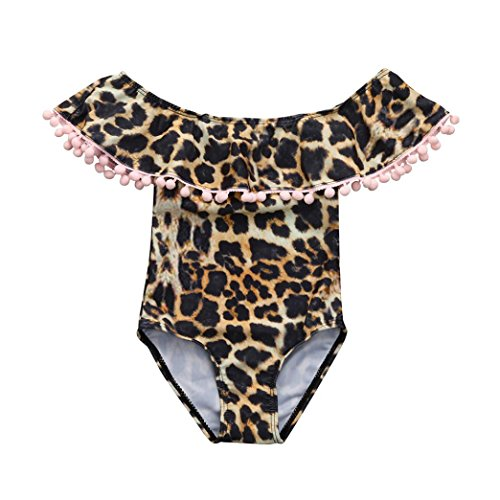 LuckyBB Sexy Leopard Print One Piece Swimsuit Matching Mother Daughter Swimsuit Clothing (3T, Daughter)