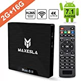 Smart TV BOX Android 7.1 - Maxesla MAX-S II Mini TV Box de 2GB RAM + 16GB ROM, 2018 Última CPU Amlogic S905W, WIFI 2.4GHz, Doble USB, H.265, HDMI & AV, 4K UHD Media Player