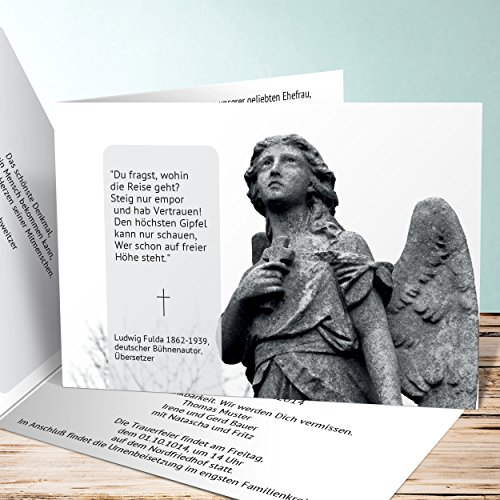 Einladungskarten Beerdigung, Friedensengel 15 Karten, Horizontale Klappkarte 148x105 inkl. weiße Umschläge, Weiß