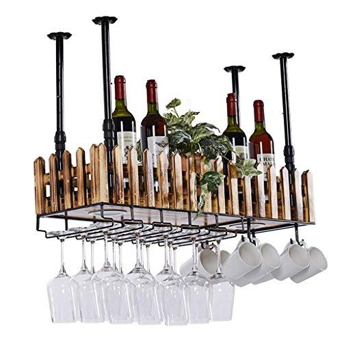 SUNTA Zauntyp Wanddecke Weinregal aus Metall und Holz für Flaschen mit Aufbewahrung aus Stielglas | Home Kitchen D & Eacute; COR Lagerregal mit LED-Lampe -