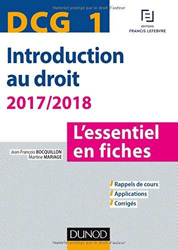 DCG 1 - Introduction au droit - 2017/2018 - 8e d. - L'essentiel en fiches