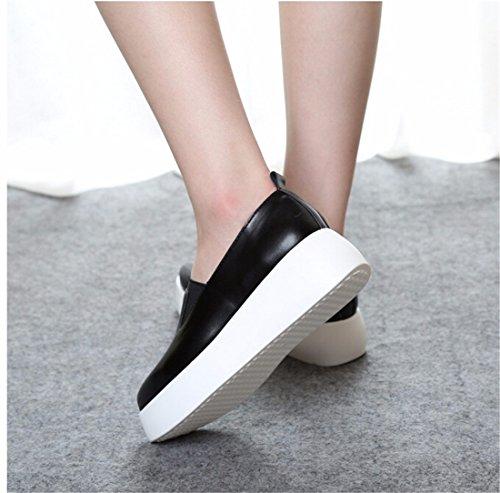 Les Femmes Mode Casual Espadrille Des Chaussures De Sport De Plate-Forme Cachee De Coin Glisser Sur Des Mocassins Noir