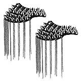 Agoky 1 Paar Schulterklappen mit Quaste Ketten Gliederkette Epaulet Damen Herren Schmuck Prinz Polizei Uniform Kostüm Zubehör Schwarz mit Nieten One Size