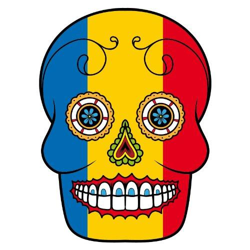 T-Shirt - Rumänien - Romania - Sugar Skull - Fahne - Herren - unisex Weiß