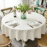 Nappes Rondes Cl Toile Cirée De Style Nordique Simple Pour Table Circulaire (Couleur : Blanc, taille : 180cm round)