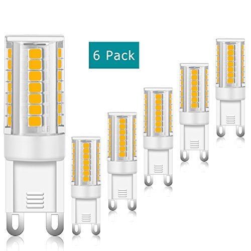 G9 LED Lampadina, 3W (equivalente lampadina alogena 35W),400LM, non dimmerabile, angolo a 360 gradi, 3000K bianco caldo, lampadine a risparmio energetico, 6 pacchi ...