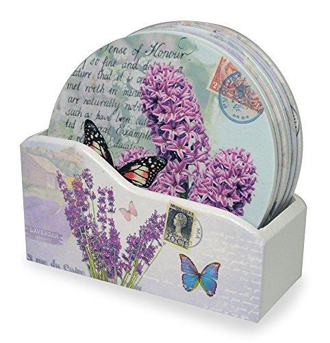 Drink Untersetzer mit Halterung-Set von 6, Verschiedene Schmetterlinge und Lavendel Designs-Jeder One ist mit Eine Inspirierende Botschaft Bedruckt-Geschenke für Ihre-Butterfly Untersetzer -