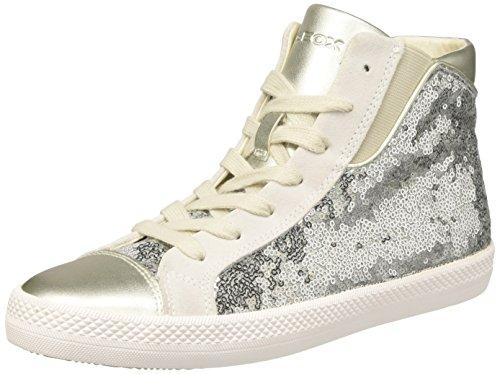 Geox Damen D GIYO A Hohe Sneaker, Silber (Silver), 41 EU
