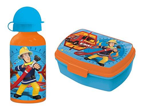 Preisvergleich Produktbild Feuerwehrmann Sam Pausenset Premium Brotdose Lunchbox mit Trenner und Premium Alu Trinkflasche