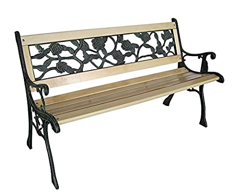 LIVIVO 2 Seater Wooden Rose Back Cast Iron Garden Patio Bench Seat Outdoor Park Seat