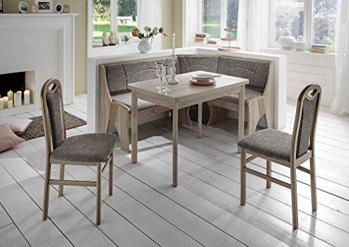 Beauty.Scouts Eckbankgruppe \'Ruder\' Essgruppe 167 x 127 x 85 Tisch 2 Stühle modern Sonoma Eiche Dekor grau beige Eckbank Küchentisch 4-teilig Landhaus Küche