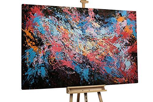 'Life in the Void' 180x120cm | Bunte Elemente auf Schwarz Abstrakt Deko | Modernes Kunst Ölbild