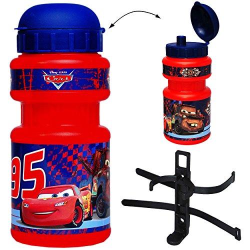 alles-meine.de GmbH Fahrradtrinkflasche -  Disney Cars Auto  - mit Halterung - Halter Trinkflasche für Kinder Fahrrad Roller Dreirad / Fahrradflasche - Kindertrinkflasche