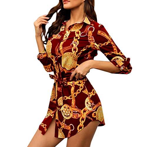 Zylione Damen Hemdkleid Shirts Kleider 3D Drucken Shirts Beiläufiges Minikleid mit Gürtel Lang Hemd Langarm Frauen Boyfriend Nightshirt Geknöpft Gestreiftes Nachthemd Luxuriös Druck Hemd