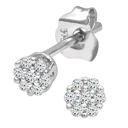 4450157230d9 Naava Pendientes para Mujer de Oro Blanco 9K con 14 Diamantes