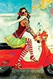 Faim Paintings Canvas Print Of Modern Art Scooter Girl - Frameless, 18x27 Inch best price on Amazon @ Rs. 599