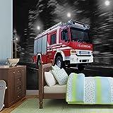 Feuerwehr Auto Fototapete Wandbild Bild Tapete VLIES (EasyInstall) (2022FW)