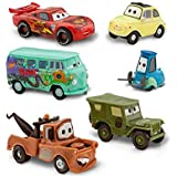 Disney Pixar Cars 2 Pit Crew 6 Pack of Luigi, Guido, Sarge, Fillmore, Lightning McQueen and Mater (PVC, Plastic)