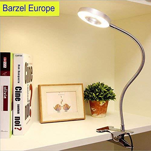 Lámpara flexo con pinza, Protección ocular, Funciona con USB, Se puede girar por 360 grados, Lámpara de mesa con brillo ajustable-Blanco frío y cálido, 6W Entrada 86-265V( plateado)