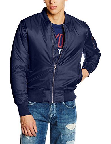 Urban Classics Herren Jacke Basic Bomber Jacket, Blau (Navy 155), Medium