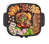 QIN.J.FANG-Cucina pentole Griglie elettriche, BBQ Grill e Hot Pot Grill da tavolo e fonduta con rivestimento in ceramica