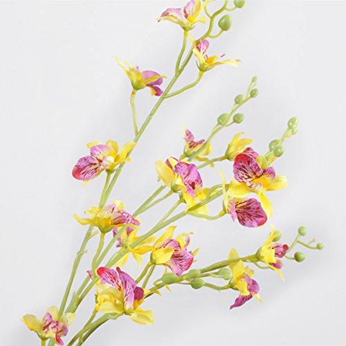 ZHUDJ Shek Paphiopedilum Orchid Zimmer Schlafzimmer Silk Blume Künstliche Blumen Anstecker Kunststoff Blumen, Blühenden Pflanzen Grün Blumen, Gelb (Shek Paphiopedilum) (Paphiopedilum Orchid)