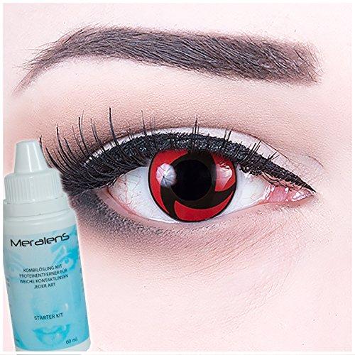 Crazy Fun Motivlinsen Crazy Contact Lenses Mangekyu. Ideal zu Fasching, Karneval und Halloween Cosplay. Mit gratis Linsenbehälter und 60ml Pflegemittel ()