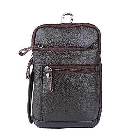 Genda 2Archer Retro Leder Mini Crossbody Tasche Multifunktions Brust Tasche mit Gürtel Haken (Kaffee)