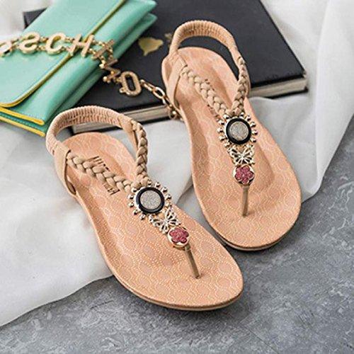 Vovotrade 2016 Chaussures Nouveau design été Bohemia douces perles Sandales clip Toe Sandals Beach Beige