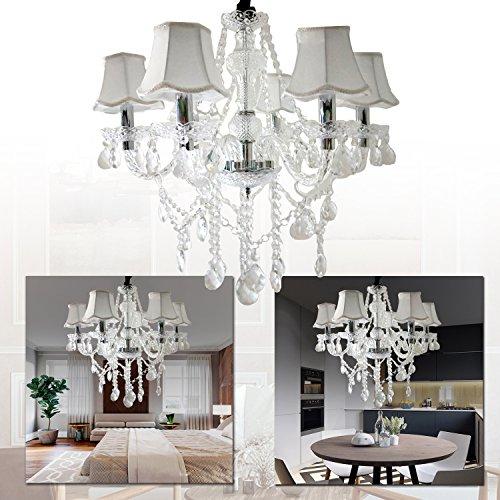 LeMeiZhiJia 6-flammig Kronleuchter vintage modern Lüster deckenleuchte Pendelleuchte Transparent Kristall-mit Leuchte Lampenschirm-Wohnzimmer,Esszimmer,Schlafzimmer (6-flammig mit Lampenschirm)