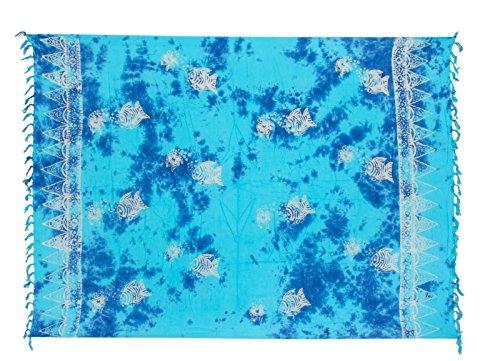 Sarong ca. 170cm x 110cm Handgearbeitet inkl. Sarongschnalle im Fisch Design - Viele exotische Farben und Muster zur Auswahl - Pareo Dhoti Lunghi Fisch Türkis Batik