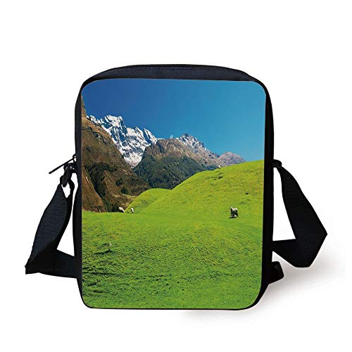 Nature,Idyllic Hills Mountain Land Farm New Zealand Snowy Peaks Spring Landscape,Lime Green Brown Blue Print Kids Crossbody Messenger Bag Purse -