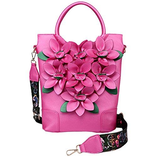 QPALZM QPALZM Wide Schultergurte Frauen Beutel Color Pack 2017 Messenger Bag Blumen Mode Umhängetasche Reißverschluss Geschlossene Handtasche Pink