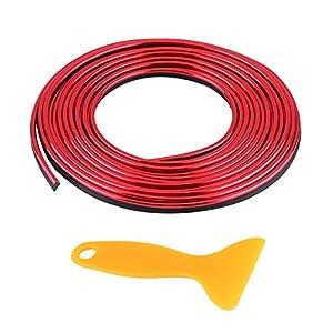 Keenso 5m Auto Innenformungs Zier Streifen Linie Aufkleber 3D DIY Nachrüstungs-dekorativer flexibler Streifen(Rot)