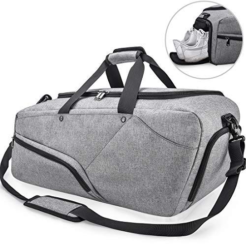 NUBILY Sporttasche Herren Reisetasche mit Schuhfach Groß Gym Fitness Sport Tasche Handgepäck Weekender 45 Liter Trainingstasche Sporttasche für Männer und Frauen Grau