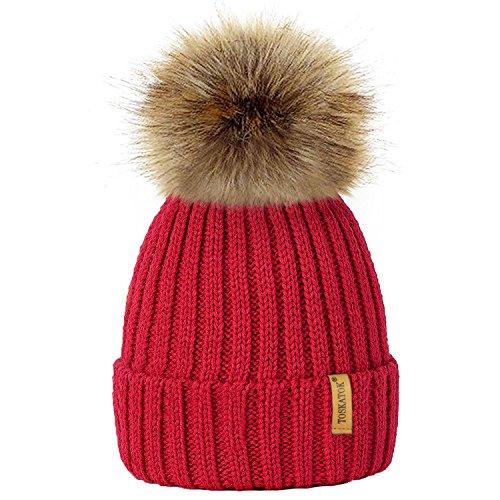 Rote Beanie Mit Pom (TOSKATOK® Womens Winter-Rib Strickmütze / Beanie mit abnehmbaren Chunky Faux Fur Bobble Pom Pom - in 10 Farben erhältlich)
